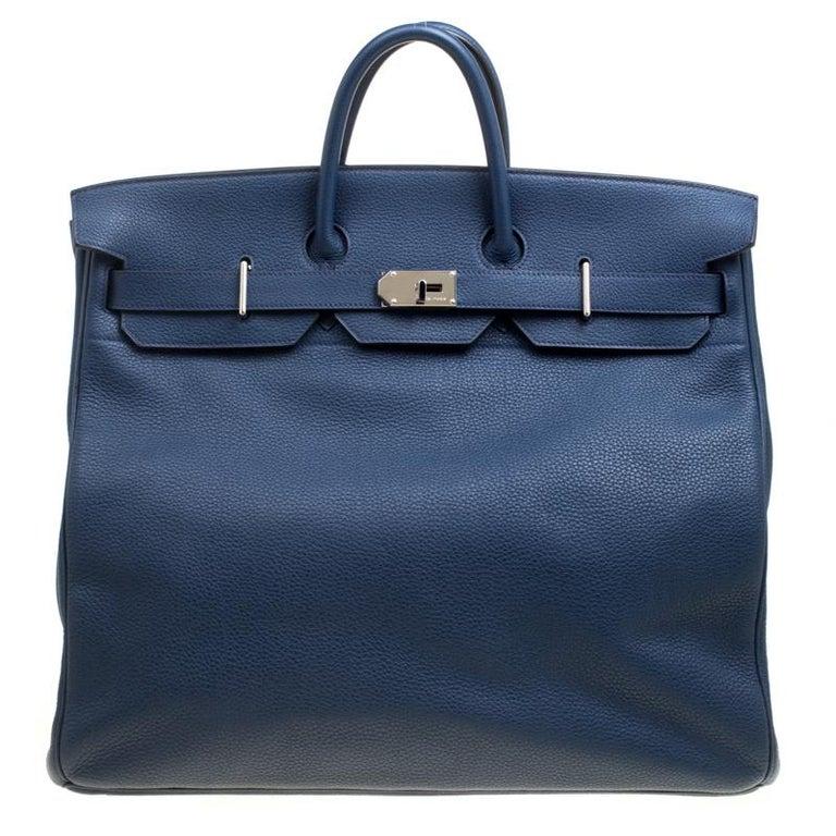 Hermes Blue De Presse Clemence Leather Palladium Hardware HAC Birkin 50 Bag For Sale