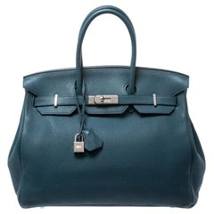 Hermes Blue De Presse Togo Leather Palladium Hardware Birkin 35 Bag