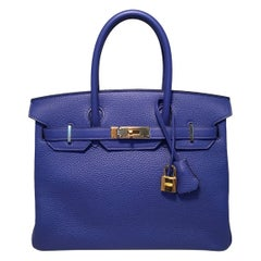Hermes Blue Electric Clemence Leather 30cm Birkin Bag GHW