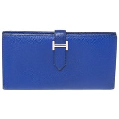 Hermes Blue Electric Epsom Leather Bearn Gusset Wallet