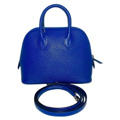 Hermes Blue Electric Mini Bolide Chevre Bag