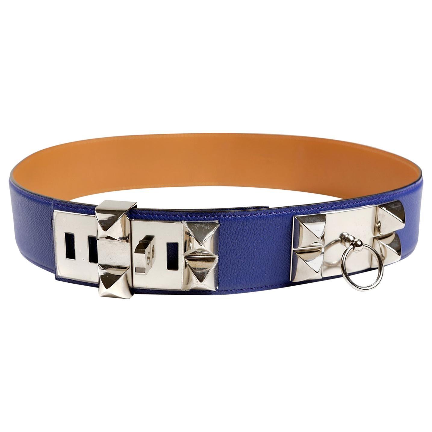 Hermès Blue Electrique Epsom Leather Medor Belt size 80