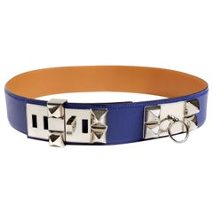 Hermès Blue Electrique Epsom Leather Medor Belt size 80