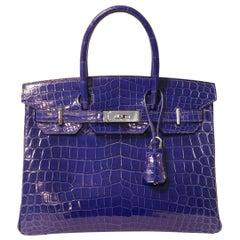 Hermès Blue Electrique Niloticus Crocodile 30 cm Birkin Bag