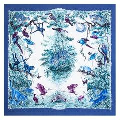 Hermes blue EQUATEUR 90 silk WASH Scarf