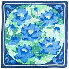Hermes Blue Fleurs de Lotus by Christiane Vauzelle Silk Scarf