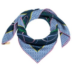 Hermes Blue Fouet et Badine Silk Twill Square Scarf