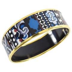 Hermes Blue Geo Gold Printed Enamel Wide Bangle Bracelet