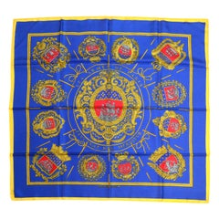 "Hermes Blue/Gold ""Les Armes de Paris"" 90cm Silk Scarf  designed by Hugo Grygkar"