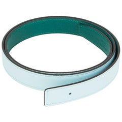 HERMES blue green 24mm Reversible Belt Strap 110 Swift / Epsom leather