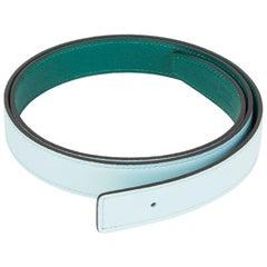 HERMES blue green 24mm Reversible Belt Strap 90 Swift / Epsom leather