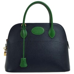Hermes Blue Green Leather Gold Carryall Top Handle Satchel Tote Shoulder Bag