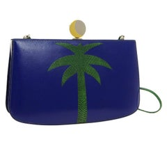 Hermes Blue Green Leather Lizard Tree Gold Sac Clutch Shoulder