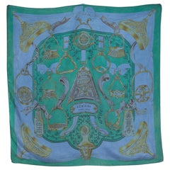 Hermes Blue Green Overdyed  Silk Scarf