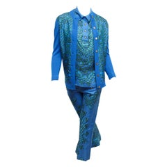 Hermes Blue & Green Printed Silk 3-Piece Set