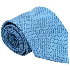 Hermes Blue 'H' Print Silk Tie