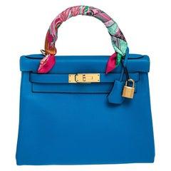 Hermes Blue Hydra Evercolor Leather Gold Hardware Kelly Retourne 28 Bag