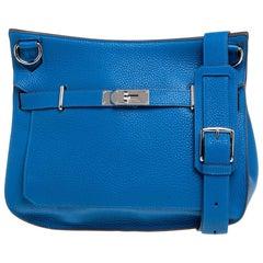 Hermes Blue Hydra Taurillon Clemence Leather Palladium Hardware Jypsiere 34 Bag