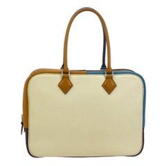 Hermes Blue Ivory Cognac Brown Leather Evening Top Handle Satchel Bag