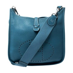 Hermes Blue Izmir Clemence Leather Evelyne III PM Bag