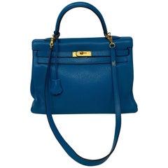 Hermes Blue Izmir Kelly 35 Bag