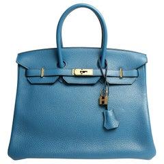 Hermès Blue Izmir Togo 35 cm Birkin Bag