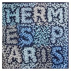 HERMES blue JARDIN LETTRE 140 TWILL silk Shawl Scarf