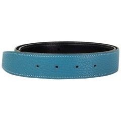 HERMES Blue Jean / Black 32MM REVERSIBLE Belt Strap 85 Togo Box leather