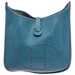 Hermes Blue Jean Clemence Leather Evelyne III GM Bag