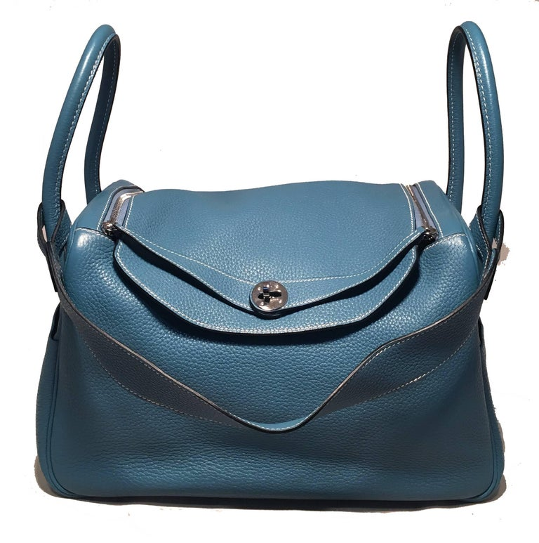 Women's or Men's Hermes Blue Jean Clemence leather Lindy Bag For Sale