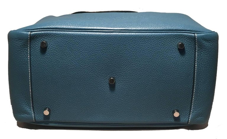 Hermes Blue Jean Clemence leather Lindy Bag For Sale 1