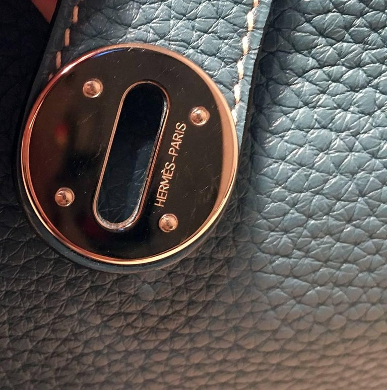 Hermes Blue Jean Clemence leather Lindy Bag For Sale 2