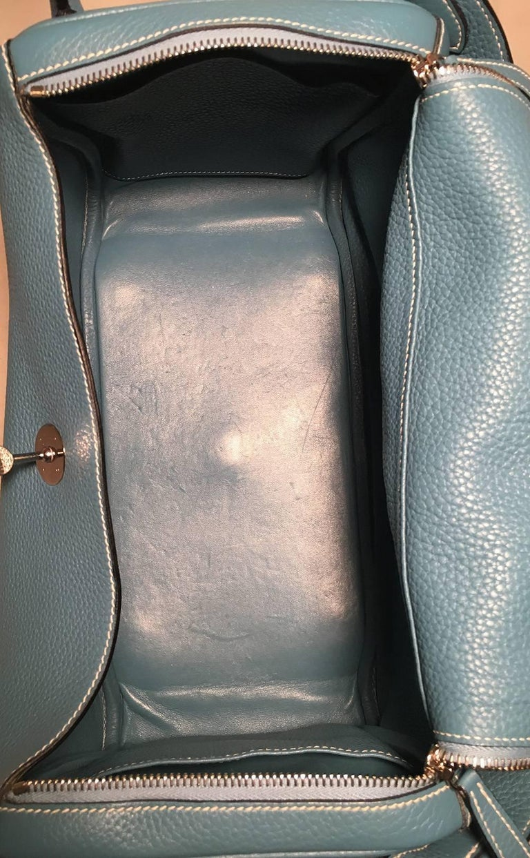 Hermes Blue Jean Clemence leather Lindy Bag For Sale 3