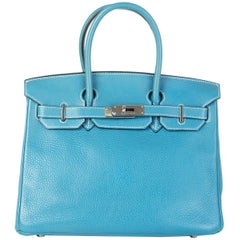 HERMES Blue Jean Clemence leather & Palladium BIRKIN 35 Bag