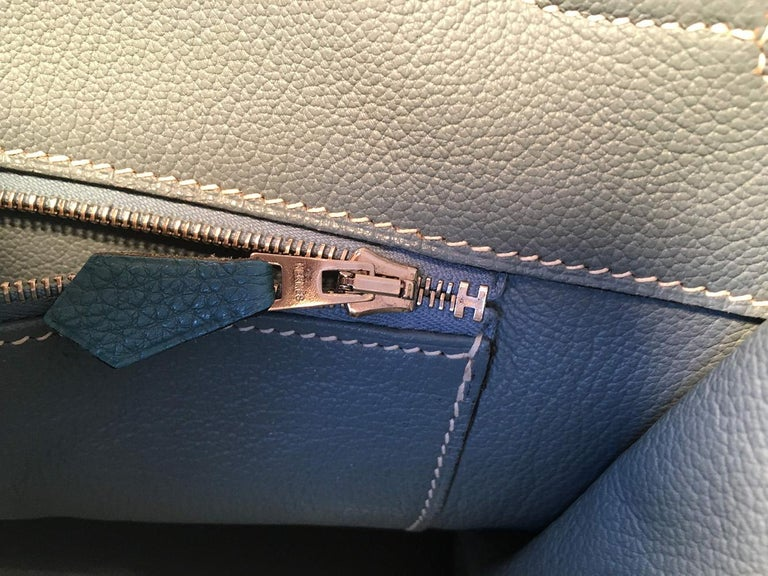 Hermes Blue Jean Togo Leather 40cm Birkin Bag For Sale 9