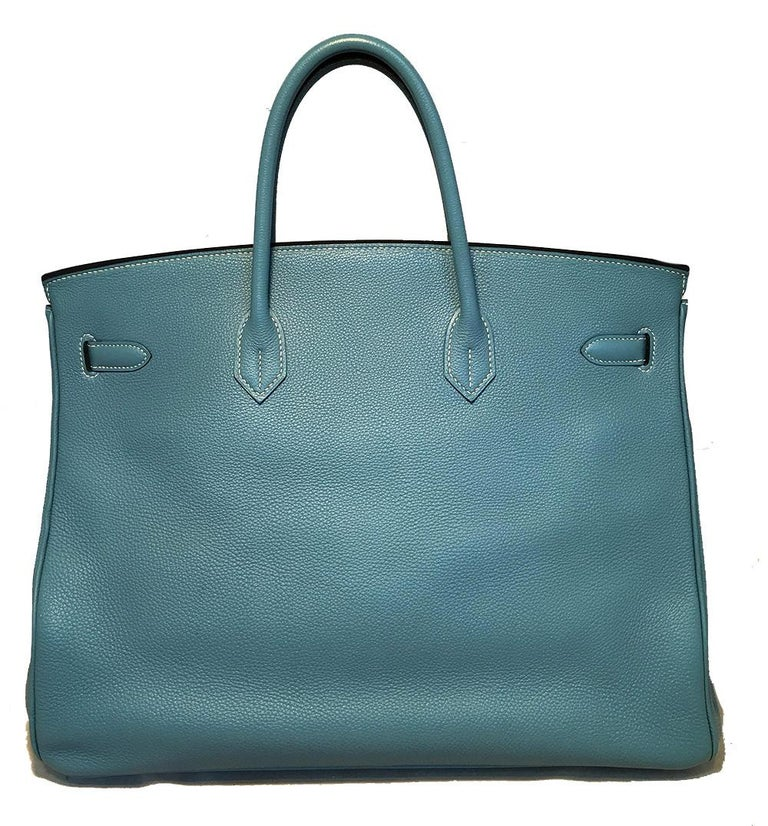 Hermes Blue Jean Togo Leather 40cm Birkin Bag In Excellent Condition For Sale In Philadelphia, PA