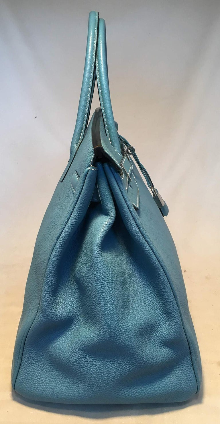 Women's Hermes Blue Jean Togo Leather 40cm Birkin Bag For Sale