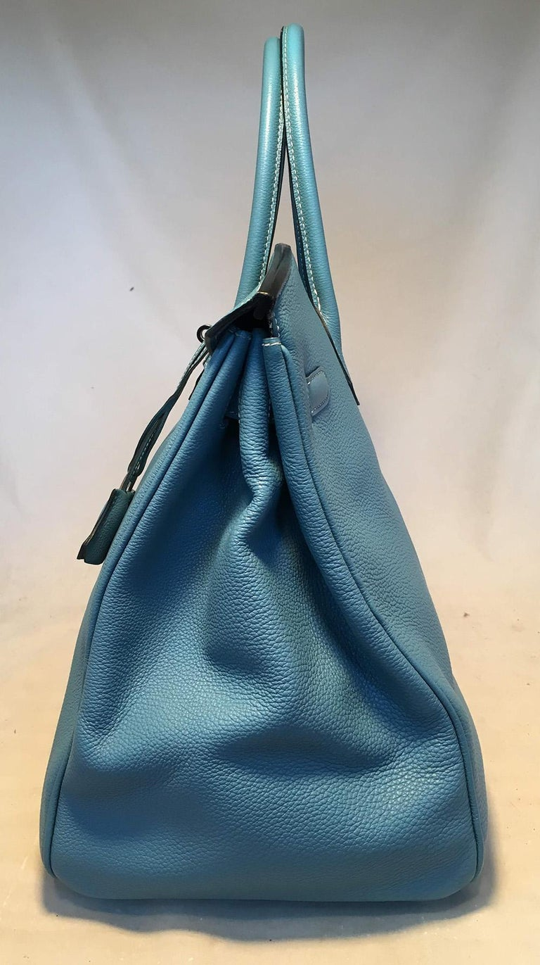 Hermes Blue Jean Togo Leather 40cm Birkin Bag For Sale 1
