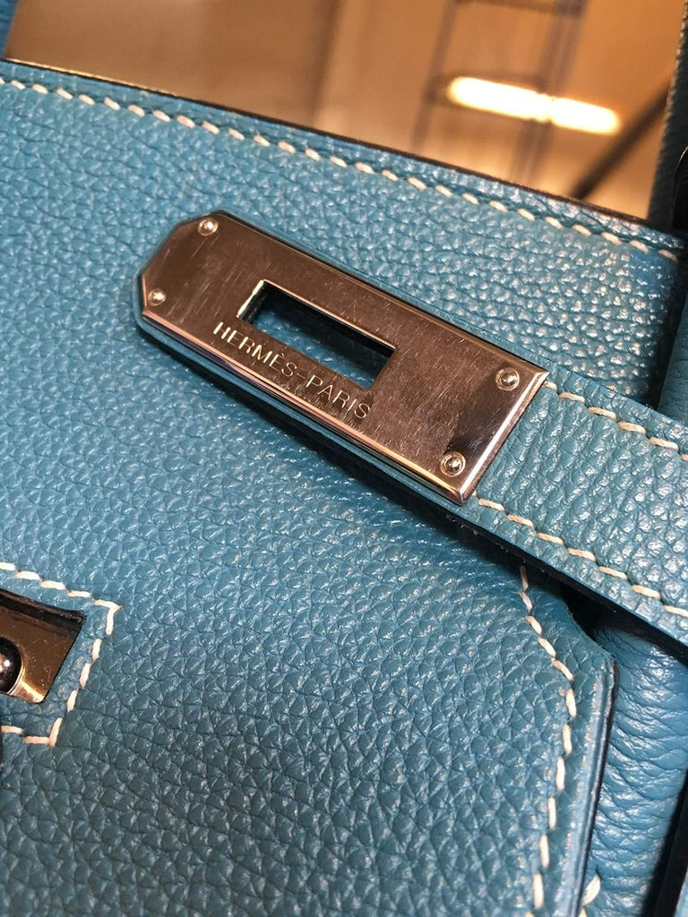 Hermes Blue Jean Togo Leather 40cm Birkin Bag For Sale 4