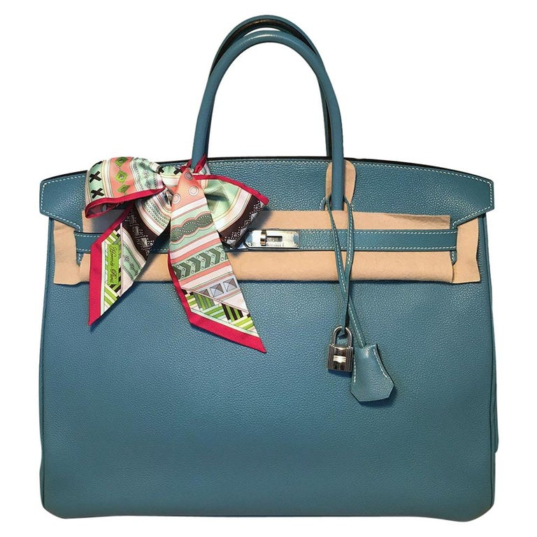 Hermes Blue Jean Togo Leather 40cm Birkin Bag For Sale