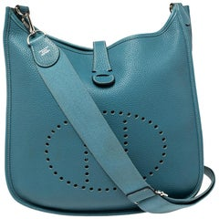 Hermes Blue Jean Togo Leather Evelyne III GM Bag