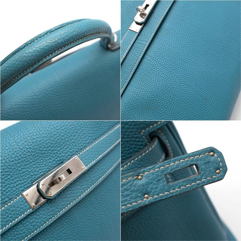 Hermes Blue Jean Togo Leather Kelly 35 PHW 35cm For Sale 2