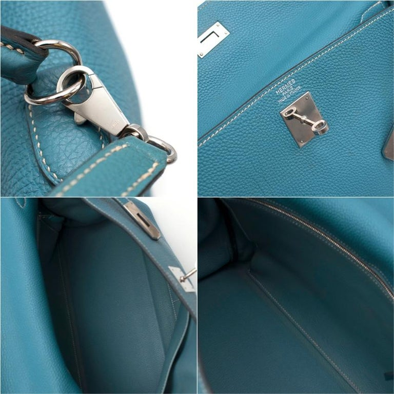Hermes Blue Jean Togo Leather Kelly 35 PHW 35cm For Sale 3