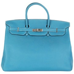 HERMES Blue Jean Togo leather & Palladium BIRKIN 40 Bag