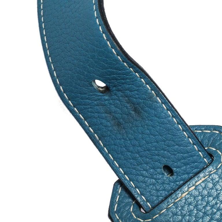 Hermes Blue Jean Togo Leather Palladium Hardware Jypsiere 34 Bag For Sale 6