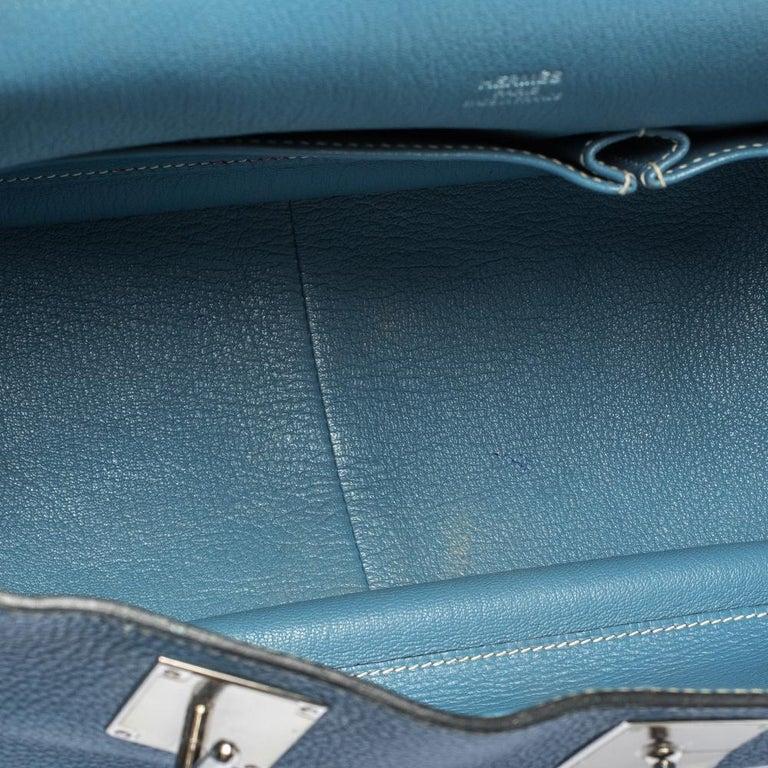 Hermes Blue Jean Togo Leather Palladium Hardware Jypsiere 34 Bag For Sale 7