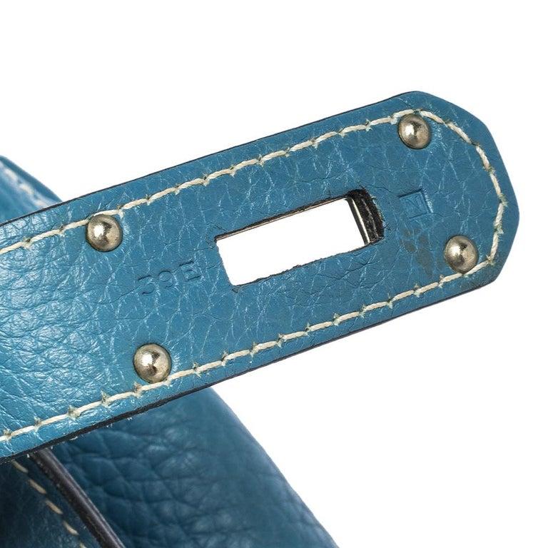 Hermes Blue Jean Togo Leather Palladium Hardware Jypsiere 34 Bag For Sale 8