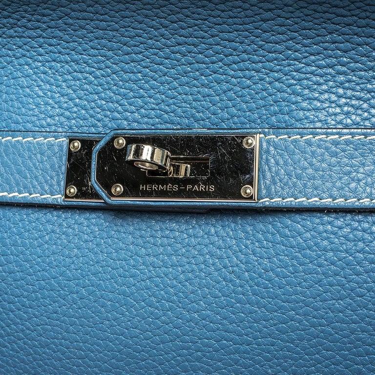 Hermes Blue Jean Togo Leather Palladium Hardware Jypsiere 34 Bag For Sale 9