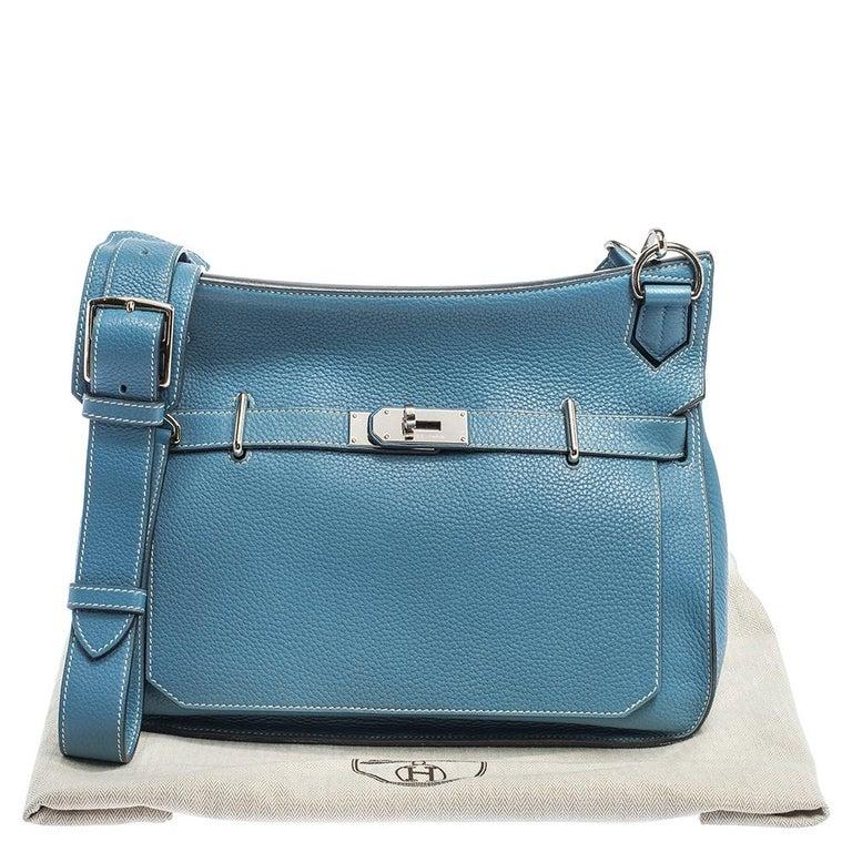 Hermes Blue Jean Togo Leather Palladium Hardware Jypsiere 34 Bag For Sale 10