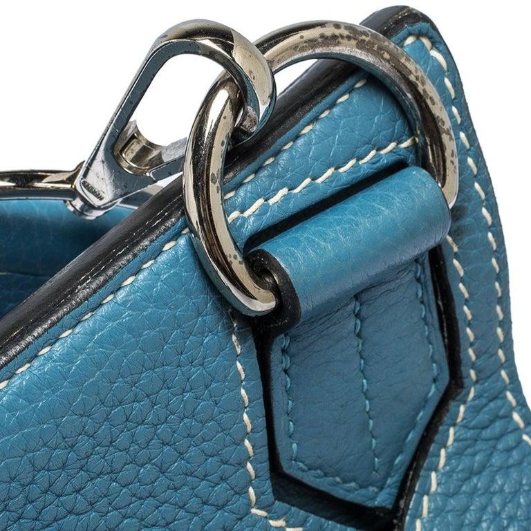 Hermes Blue Jean Togo Leather Palladium Hardware Jypsiere 34 Bag In Good Condition For Sale In Dubai, Al Qouz 2